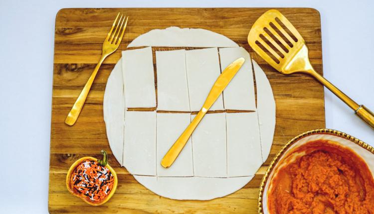 cut pie crust into 8 rectangles