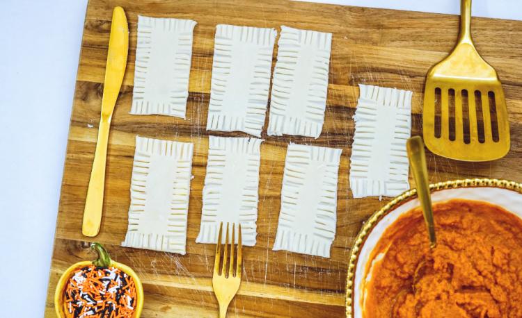 crimp edges together with a fork